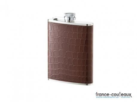 Flasque 177 ml inox gainécuir marron Inox