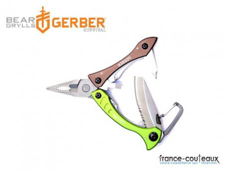 Pince Gerber Crucial Pocket Tool multifonctions 9 outils vert et marron
