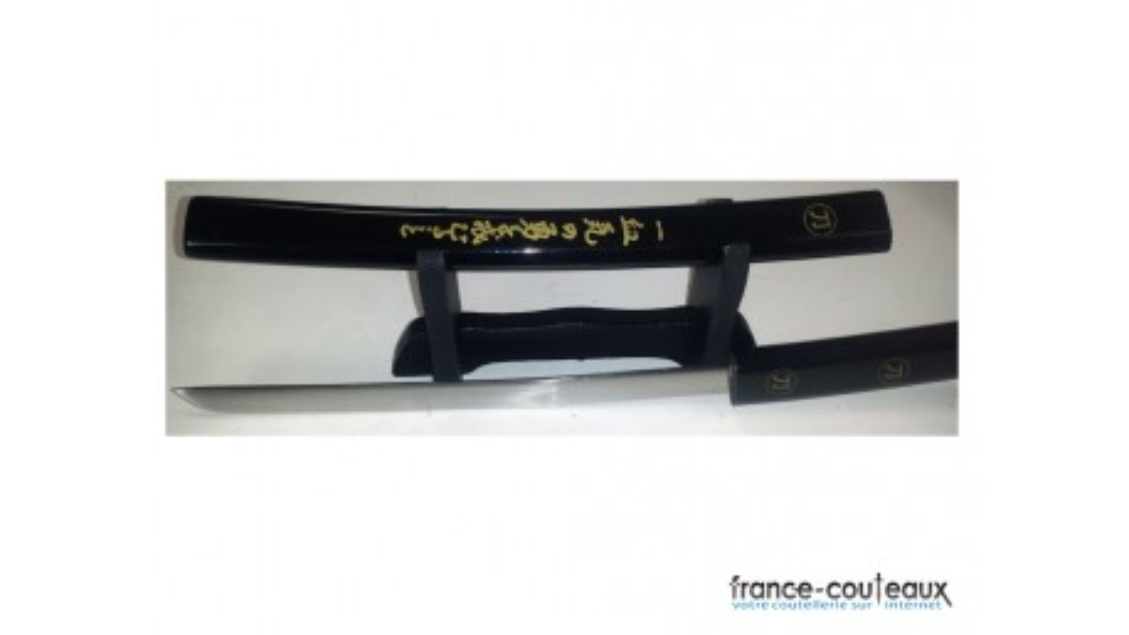 Ouvre lettre Mini Katana noir avec inscriptions japonaises dorées