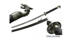 Katana Gold Dragon soldier pommeau tête de dragon