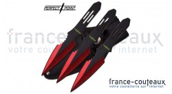 3 couteaux de lancer 14 cm Perfect Point lame rouge