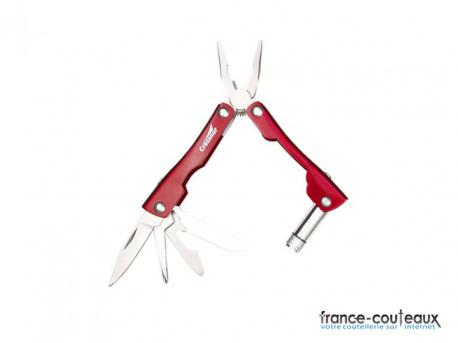 Pince rouge +lampe couteau tournevis scie porte-clef 8 outils